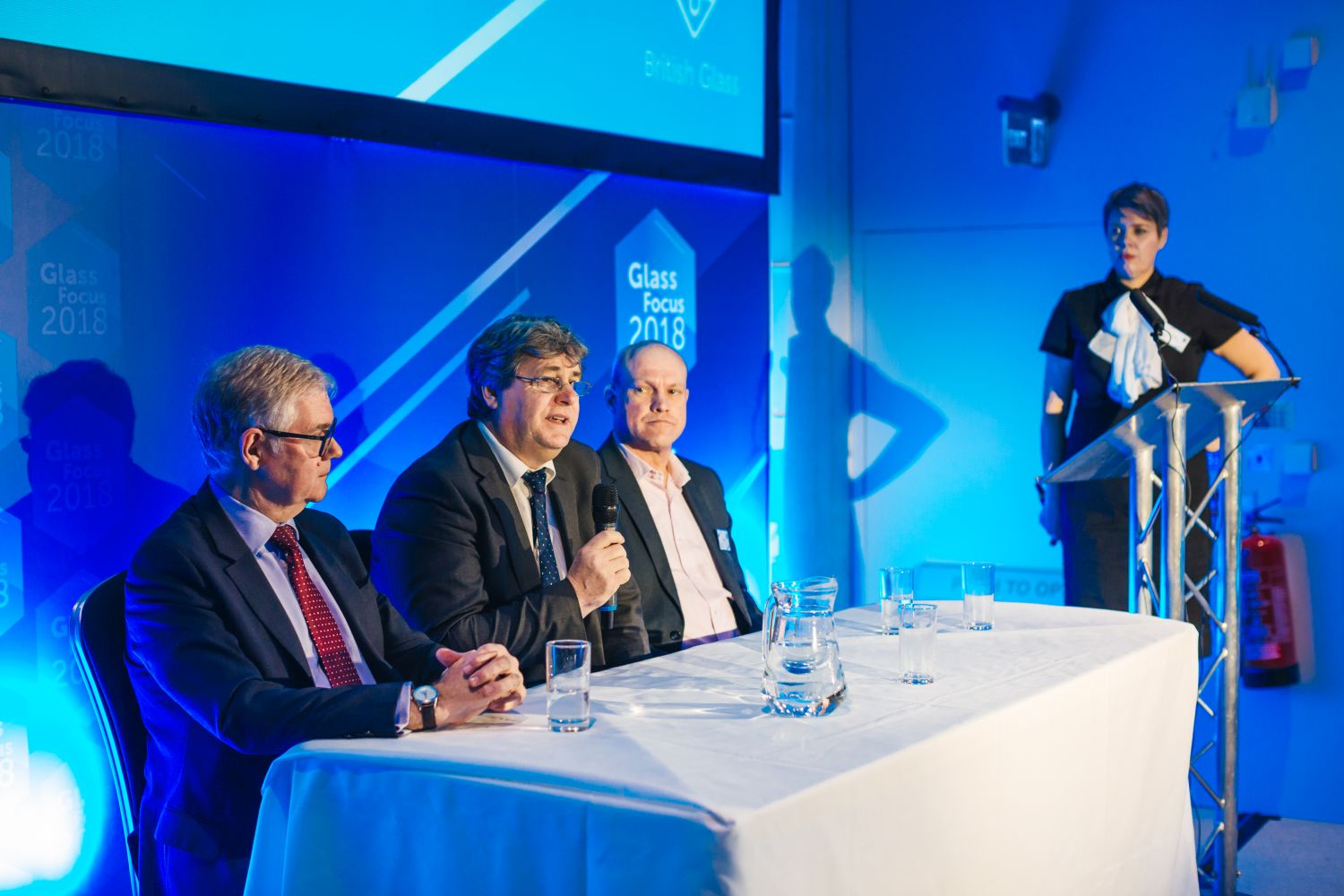 The Glass Focus 2018 panel consisting of Graham Hillier of CPI, British Glass CEO Dave Dalton and Siemens's Alan Norbury