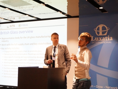 British Glass's Aston Fuller and GTS's Gareth Jones giving their presentation