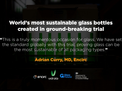 A revolutionary project undertaken by glass container manufacturer Encirc and Glass Futures has proven that new bottles are able to be made from 100% recycled glass, using only the energy from burning ultra-low-carbon biofuels