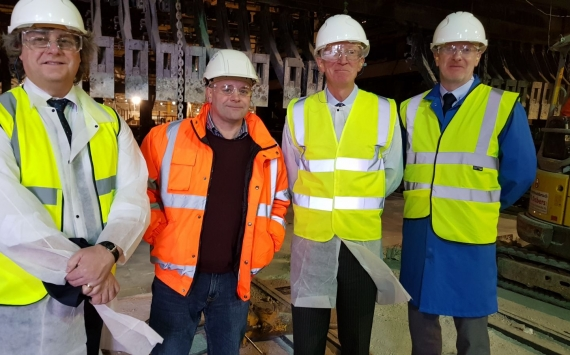British Glass takee Lord Prior, formerly of BEIS, to tour Encirc's plant in Elton. L-R Dave Dalton (British Glass), Noel McGovern (Encirc) Lord Prior (formerly of Dept of BEIS) and Fiacre O'Donnell (Encric). Image credit: Richard Katz of Glass Futures