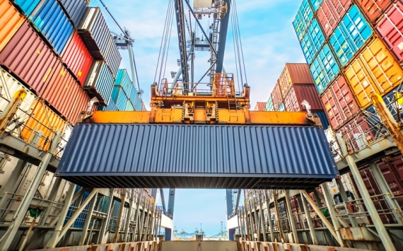 Containers in shipping port