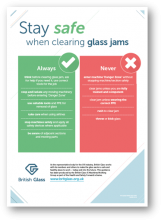 Stay safe when clearing jam jars poster