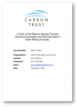 Furnace operating parameters and recycled glass